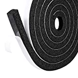 Fowong Low-Density Foam Weather Stripping Tape, 12mm(Width) X 12mm(Thick), Window Door Air Conditioner Seal Strip High Resilience (2 Rolls with Total 4M Long)