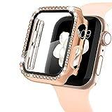 WASPO Bling Case - Carcasa compatible con Apple Watch Case 44 mm, marco Bling HD protector de pantalla de vidrio templado ultrafino compatible con Apple Watch Series SE/6/5/4 (oro rosa)