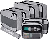 OlarHike 7 Set Packing Cubes for Travel, Luggage Organizers with Laundry Bag & Toiletry Bag (Grey)