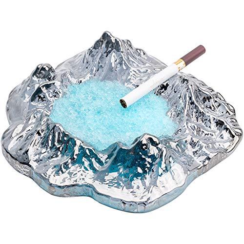 ANMJJ Cenicero de Cristal Iceberg,Cenicero Multifunción,Cenicero de Mesa,para decoración de hogar u Oficina,1
