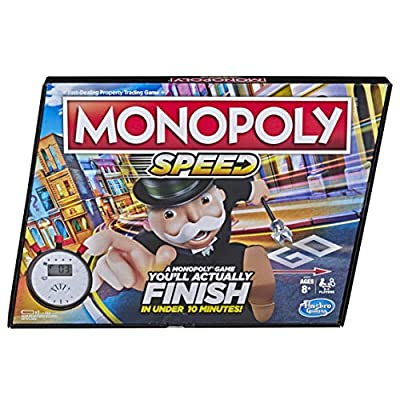 Monopoly Speed Board Game, Play in Under 10 Minutes, Fast-Playing Board Game for Ages 8 and Up, Game for 2-4 Players by Hasbro