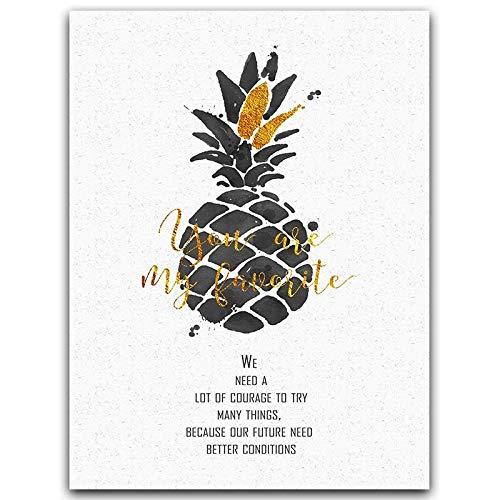 jiushice Rahmenlose Goldene und Schwarze Ananas Blätter Feder Hut Abstrakte Muster Leben Motivations Poster Leinwand Malerei Kunst Home Bild Decor 50x70 cm
