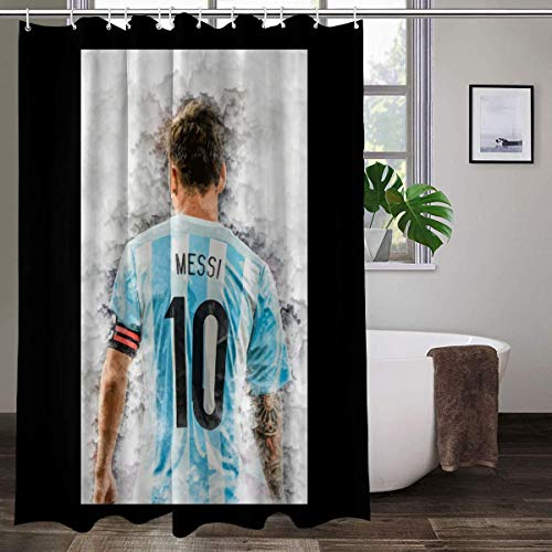 Messi Argentina - Cortinas de ducha de tela impermeable para baño con 12 ganchos de plástico de 178 x 172 cm