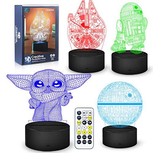 Luce notturna 3D Illusion, 4 Pattern con funzione di temporizzazione Lampada da notte a LED per arredamento della camera, fantastici regali di compleanno di Natale per bambini Uominie fan di Star Wars