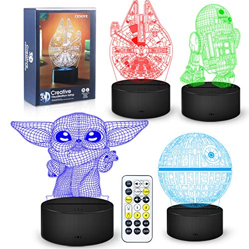 3D Illusion Star Wars Night Light,4 Pattern with Timing Function Star Wars Toys LED Night Lamp for Room Decor,Great Christmas Birthday Gifts for Kids and Star Wars Fans Boys Girls Men