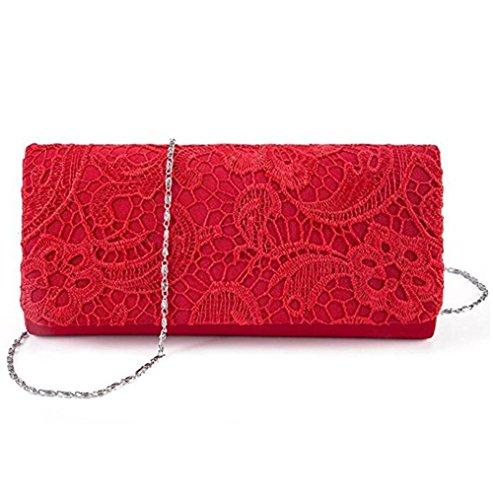 Lifewish Bolso de boda nupcial elegante del monedero de la boda del cordón de las mujeres(Rojo)