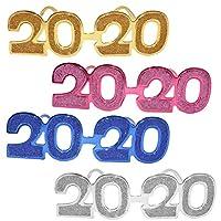 TOYANDONA パーティー用品コスチュームアクセサリーフォト小道具用2020メガネ 4本