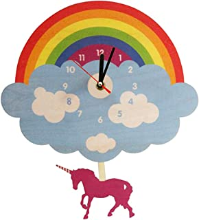xushihanjjli Wall Clocks Rainbow Cloud with Swinging Unicorn Laser Cut Wooden Magical Unicorn Unicorn Bedroom Pendulum Can Well Decorate Home Office Coffee Bar Hotel Restaurant