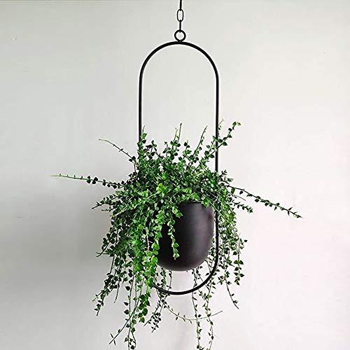 Yoommd Hängender Blumentopf Metall Blumenampel Decke Hängender Pflanzenaufhänger für Außen Innen Terrasse Veranda Balkon Haus (Ovale-Schwarz)
