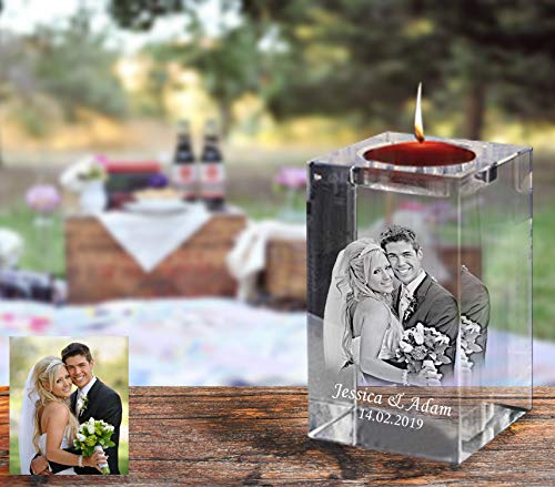 Personalized Laser Engraved Glass Candle Holder, Custom Etched Memorial Crystal Tea Light Candle Holder, Birthday Gift, Wedding Anniversary (6 x 6 x 10) cm-Custom)