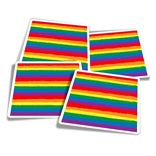 Vinyl Stickers (Set of 4) 10cm - LGBT Heart Rainbow Gay Lesbian Fun Decals for Laptops,Tablets,Luggage,Scrap Booking,Fridges #21784
