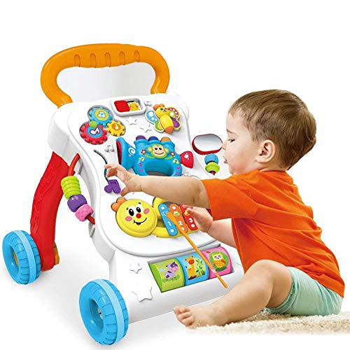New Btybess Baby Walker Multifunction Anti Rollover Trolley Music Adjustable Speed 1-3 Years Children Walker Toy Play Walker with Toy Tray Learning Walker for Toddlers and Infants Learning Walker