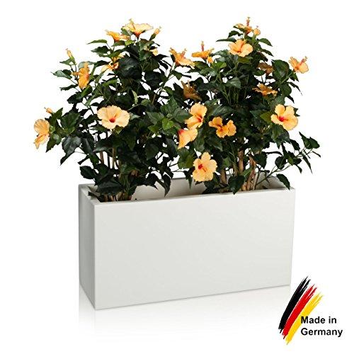 Pflanzkübel DECORAS Kunststoff Pflanztröge – versch. Größen – weiß matt – frostsicher & UV-beständig (8 Jahre Garantie) – TÜV-geprüfte Qualität – Premium Blumenkübel