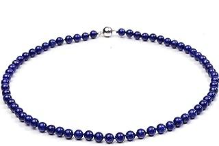 6mm Azure Blue Round Lapis Lazuli Beads Necklace Gemstones of Buddhism 17.5''