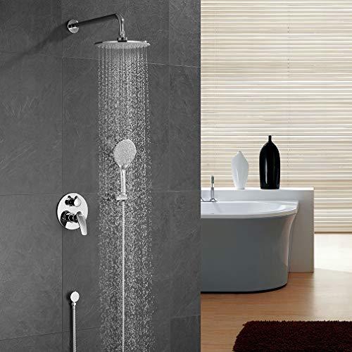 Ubeegol Douchesysteem inbouw douchearmatuur regendouche doucheset complete set met 3 straalsoorten handdouche douchekop doucheset voor badkamer