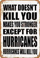 165グレートティンサインあなたを殺さないものはあなたを強くします。ハリケーンを除いて。ハリケーンはあなたを殺します。ウォールプラークレトロアルミメタルサインウォールデコレーション12x8インチ