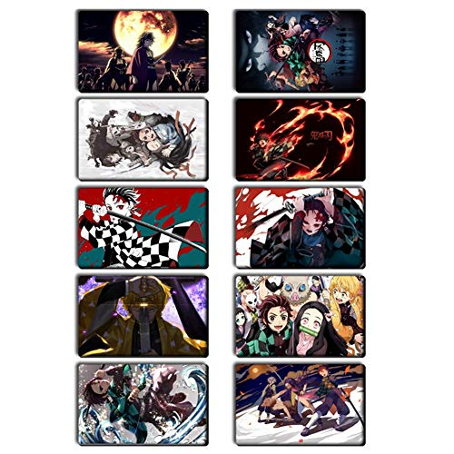 SGOT Demon Slayer Sticker, 10pcs Karte Aufkleber, wasserdichte Kristall Karten Sticker, Anime Aufkleber, Standardgröße PET IC Karte Aufkleber 8,6*5,4cm( H01)