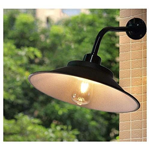 Außen Wandlampe,Industrie Wasserdicht IP45 Wandleuchte Vintage Antik Wandlichter mit Schwarz Emaille Lampenschirm E27 Edison Eisen Außenlampe für Hof Garten Fassade Terrasse Flur Wandbele.