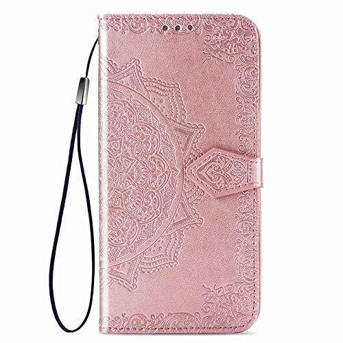GOGME Funda para Xiaomi Redmi Note 10 4G / Redmi Note 10s Funda, Suave PU/TPU Cuero Flip Carcasa Case Cover, Cubierta Magnética en Relieve de la Mandala, Billetera con Soporte/Tapa Tarjetas. Oro Rosa