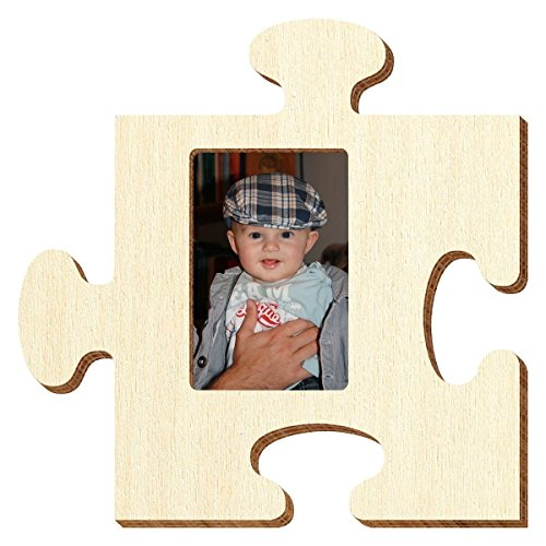 Bütic Sperrholz Foto Puzzle Bilderrahmen naturbelassen, Größe:Passbild 3.5x4.5cm