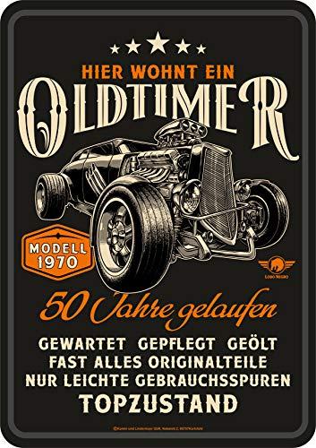 Lobo Negro Deko Blechschild als Geschenk zum 50. Geburtstag: Oldtimer Modell 1970