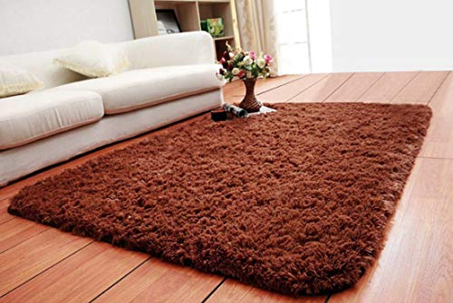 ACTCUT Super Soft Indoor Modern Shag Area Silky Smooth Fur Rugs Fluffy Anti-Skid Shaggy Area Rug Dining Living Room Carpet Comfy Bedroom Floor 4- Feet by 5- Feet (Coffee)