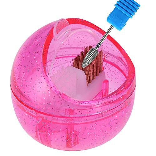 Nail Art Drill Bit Cleaning Brush Box Mini Nail Art Drill Head Dual Clean Brush Portable Cleaner Metal Brush & Plastic Brush Polishing Manicure Tool