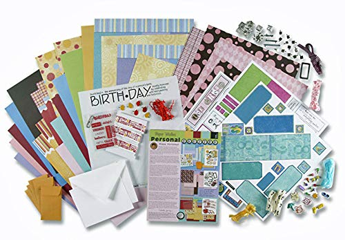 Paper Wishes - Dots, Stripes & Birthday Card Making & Scrapbooking Kit | 205 Pieces | 30 Printed Papers & cardstock, chipboard Letters & Numbers, Ribbons, Clips, brads, Metal Frame, Pinwheel and More