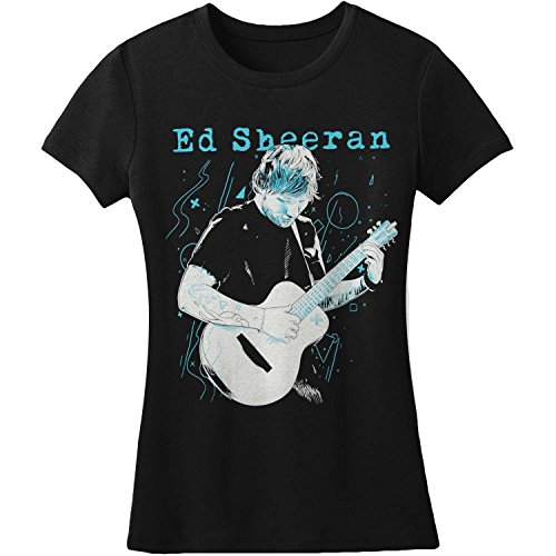 Ed Sheeran - Frauen Gitarrelinien T-Shirt, X-Large, Black
