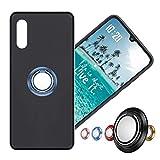 Hülle für Alcatel Flash Plus 2 Schutzhülle Etui Matte Oberfläche Design,Weich Silikonhülle Bumper Hülle Alcatel Flash Plus2 Hülle+360°Handy Ringhalter Phone Fingerhalter MEHRWEG,03 Blau
