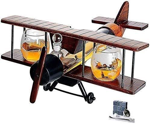 Whisky Decanter Crystal Antique Whiskey Decanter 1000ml Conjunto de aviones y gafas con el whiskey Stones Wood Airplane Whiskey Set de regalo de Whiskey y 2 mapas del mundo Gafas para licor Bourbon Al