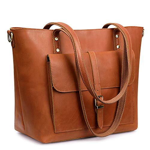 S-ZONE Women Vintage Genuine Leather Tote Bag Large Shoulder Purse Work Handbag (Gognac)