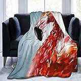 SURERUIM Soft Fleece Throw Blanket,Flamant Rose Tête Animal Peinture Beau Bec Oiseau Brillant Gracieux Rouge Sauvage,Home Hotel Sofá Cama Sofá Mantas para Parejas Niños Adultos,75x125cm