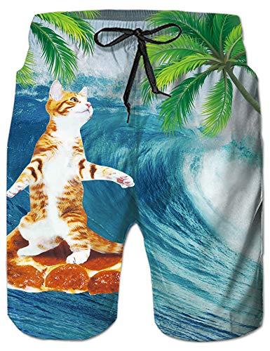 Rave on Friday Herren Badehosen Katze Sommer Badeshort 3D Drucken Schwimmhosen Schnell Trocknend Kurze Hosen Hawaii Strand Surf Board Shorts M