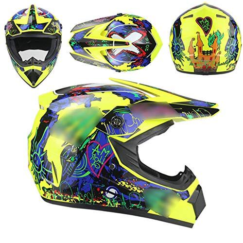GAOZHE Conjunto de Casco de Motocross para Niños con Gafas Guantes Máscara, Casco de Moto MX Adultos Casco de MTB de Integrale Casco de Moto Todoterreno para Hombre