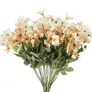 NAHUAA 4PCS Artificial Silk Flowers Bundles Fake Flowers Bouquets Fuax Floral Table Centerpieces Arrangements Home Kitchen Office Indoor Outdoor Spring Decorations (Champagne)