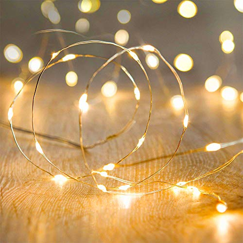 Metaku Fairy Lights Battery Operated 10Ft/3M 30 LED String Lights Twinkle Christmas Lights Indoor Decorative Mini Lights for Home Bedroom Garden Wedding Party Festival Decorations (Warm White, 1 Pack)