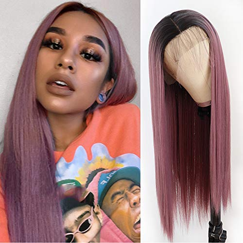 Lovestory Ombre Purple Long Straight Wig For Fashion Women Heat Resistant Synthetic Lace Front Wigs With Baby Hair 180 Density 22-24 inch