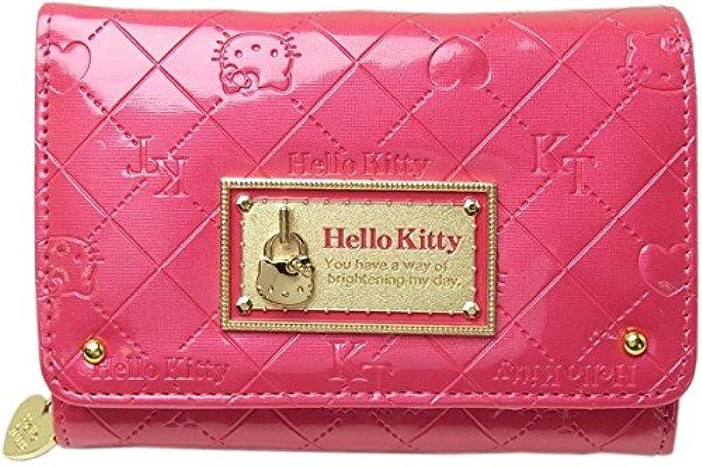 無意味動力学家禽[ハローキティ]HELLO KITTY 財布 合皮エナメル調モノグラム柄折財布 HK26-3 レディース ローズ