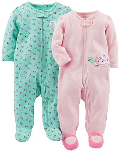 Simple Joys by Carter's Baby Girls' 2-Pack Cotton Footed Sleep and Play, Pink Turtle/Mint Floral, 0-3 Month