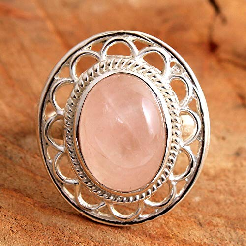 Rose-Quartz 925 Sterling Silver Rings for Women, Light-Pink Bridesmaid Rings, Oval Gemstone Rings, Statement Rings, bezel Set Handmade Rings