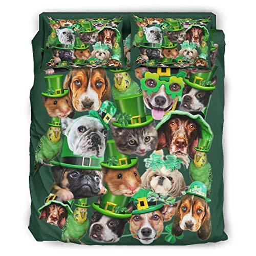 St. Patrick es Day Animal - Juego de cama de 4 piezas con cremallera, incluye 1 funda de edredón y 2 fundas de almohada, color blanco, 240 x 264 cm