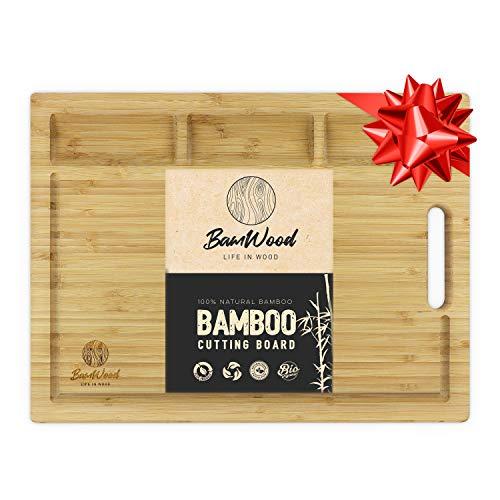 Bamwood Planche à Découper en Bambou Bio - 3 Compartiments à Légumes, Rainures Intégrées pour Les Déchets - Matériau Renouvelable, Durable, Design Rustique pour Découpage Intensif - 43x32x2cm