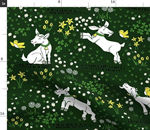 Spoonflower Fabric - Tulips Large Kids Children Goats Field Grass Clover Shamrock Printed on Fleece Fabric by The Yard - Sewing Blankets Loungewear and No-Sew Projects