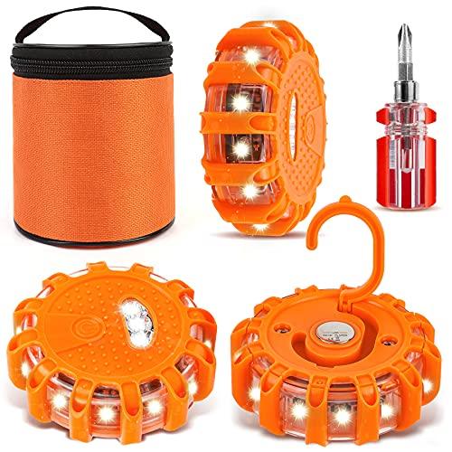 Lampeggiante LED Auto Segnaletica Stradale Luminosa, 3 Pezzi Magnetico Lampeggiante di Emergenza Luce Emergenza di Segnalazione per RV Camion | LED Road Lampeggiante Arancione per Barca Rattori Moto