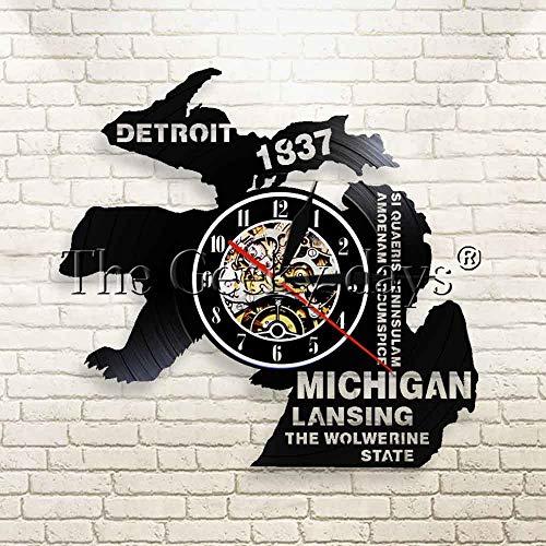 FDGFDG Detroit Wanduhr Michigan Lansing The State Vinyl Uhr Exklusive Vintage dekorative Wandkunst Uhr