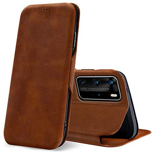 Verco Handyhülle für Huawei P40 Pro, Bookstyle Premium Handy Flip Cover für P40 Pro Hülle [integr. Magnet] Book Hülle PU Leder Tasche, Braun