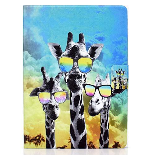 JIan Ying Funda para iPad Air/Air 2/iPad 9.7 (2017)/(2018) Delgado ligero protector cubierta jirafa gafas