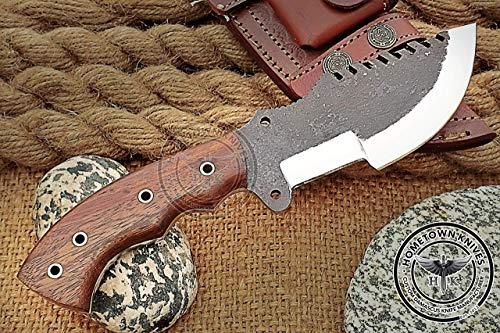 Hometown Knives Custom Handmade 1095 High Carbon Steel Tracker Knife - A Piece Of Art Prime Quality Rose Wood Handle For Camping Hunting Fishing