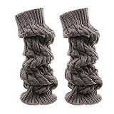 Photo de TININNA Jambières Chaussettes Boot Cover Femmes Winter Girl Cours Genou Leg Warmer Souple Crochet Knit Sock Legging Gris Foncé